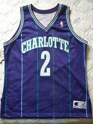 Larry Johnson Charlotte Hornets Champion Authentic jersey NWT (Pro Cut Mourning)