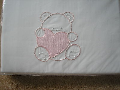 """BABY COTTON COT SET DUVET 48"""" x 48"""" WITH PILLOWCASE. PINK. NEW IN WRAPPER"""