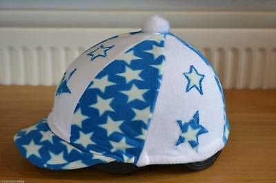 Blue & White Star Fleece Skull Cap Riding Hat Helmet Cover With Pompom