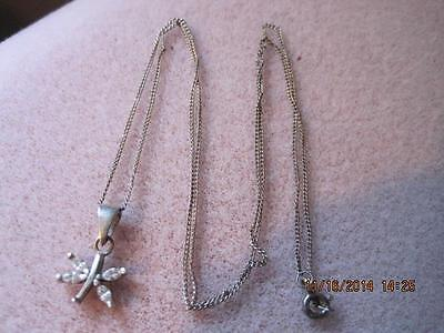 Vtg Jewelry Tiny STERLING SILVER Flower Pendant with 4 Marquise Rhinestones