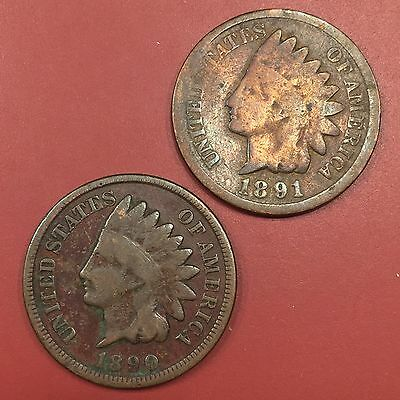 1890 & 1891 Indian Head Cents - 2 Coin Lot - Ships Free