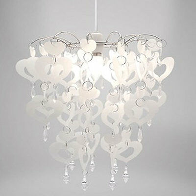White Hearts and Crystal Chandelier Shade