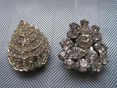 2 Vintage Clear Ice Rhinestone SWEATER SCARF Clips Silver Tone