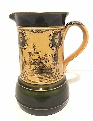 Royal Doulton Stoneware Commemorative Jug Nelson And His Captains Green X6436