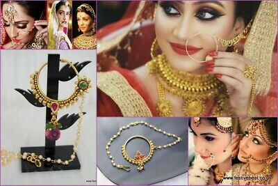 Indian Nath Nose Ring Chain Bridal Party Hoop Indian Bollywood Jewelry jewellery