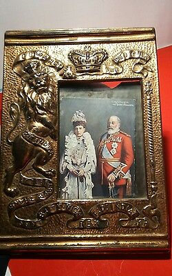 Rare King Edward VII Antique Repoussé Copper Picture Frame English Royalty 1901