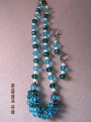 Stunning HANDCRAFTED Light & Dark Blue Faceted Glass Necklace & Earrings