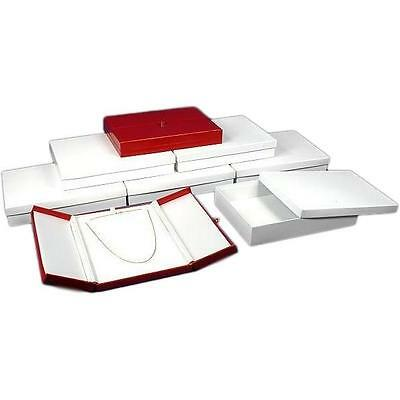 6 Large Necklace Boxes Red Faux Leather Display