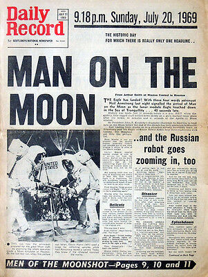 Daily Record 21 July 1969 Original Newspaper. Man On The Moon Apollo 11 Headline
