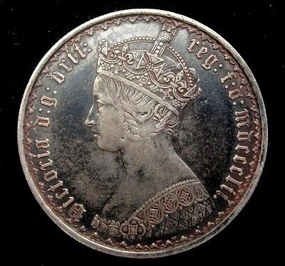 1852 Queen Victoria Gothic Florin * Looks XF+ With Monster Toning *