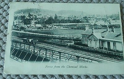 Vintage Scottish Postcard Forres From The Chemical Works  1903