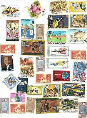 34 Mostly Different Postage Stamps from Guinea .