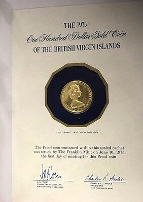 1975 British Virgin Islands  $100 Proof Gold Coin  Struck  First Day Of Minting