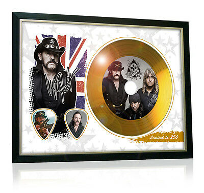 Lemmy Motorhead Flag Style Signed Gold Disc Display