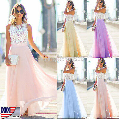 Women Long Formal Wedding Bridesmaid Evening Party Ball Prom Gown Cocktail Dress