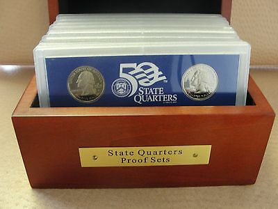 1999 through 2008 State Proof Quarter 50 coin Set In Cherry Wood Display Case