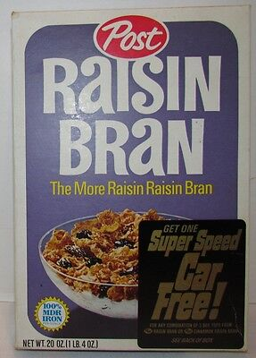 1968 Post Raisin Bran Cereal Box with Marx Mini-Marx Super Speed Cars offer
