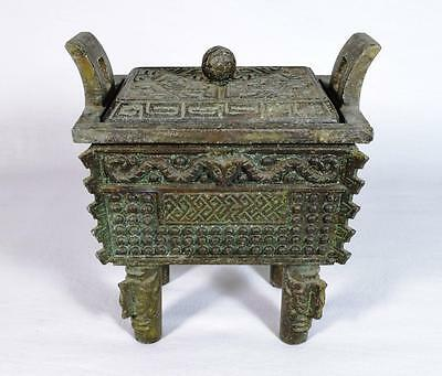 Antique Chinese Bronze Censer Bowl with Interior Compartments