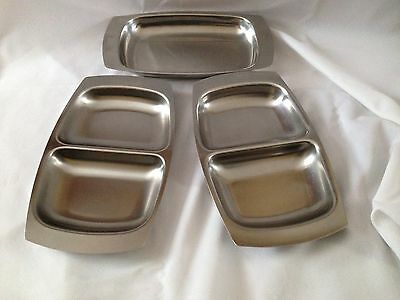 3 Vintage Old Hall Stainless Steel Serving dishes - - By Robert Welch