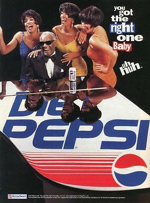 """Pepsi Print Ad """"you Got The Right One Baby Uh Huh"""" Ray Charles On The Piano!"""