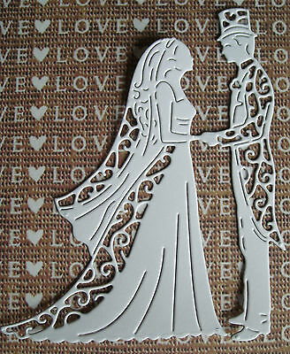 NewTattered Lace Die Cuts - VINTAGE BRIDE and GROOM TOPPER. WEDDING/ANNIVERSARY