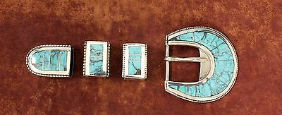 Navajo Inlaid Turquoise Sterling Silver Ranger Belt Buckle Set 925 MODERN DESIGN