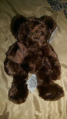 New with tag RUSS pretty velvety dark brown bear soft toy 20cm