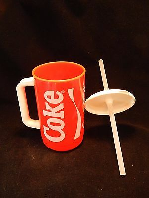 Vtg. Coca Cola Beverage Red Plastic Drinking Mug Cup Coke Straw Whirley Ind USA