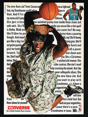 1992 Converse Basketball Shoes Larry Johnson In Drag Photo Vintage Print Ad