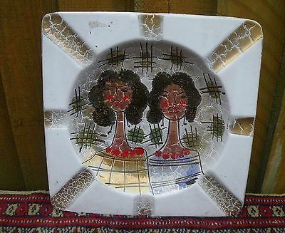 Vintage Mid Century Italian Art Pottery Dish~2 Ladies Heads Quirky Decoration