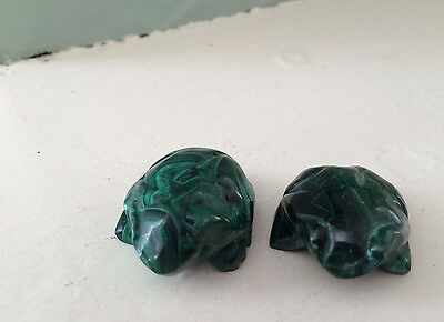 Polished Malachite 2 (Two) FROGS  Hand-Carved African Sculpture 58grams PETITE