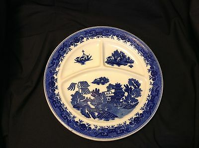 "Vintage Lovely 3-section BLUE WILLOW 10.5"" PLATE  BONE CHINA over 2lbs! JAPAN"