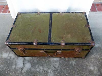 "Vintage Trunk Footlocker Metal 12""x16""x30"""