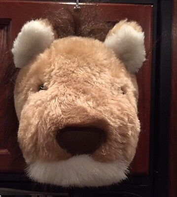 VTG '80s Dianne Shapiro Lion Head Wall Mount Plush Soft Humane Sculpture USA