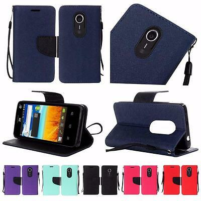 For ZTE Ultra N817 Uhura Quest Premium PU Leather Wallet Flip Cover Case