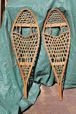 """Vintage Wood & Leather Snowshoes 11 X 36"""" As New 6478"""