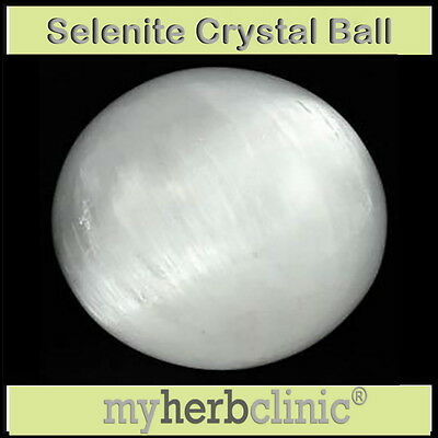 SELENITE CRYSTAL BALL 65 mm Wicca Pagan PSYCHIC SCRYING HEALING CHARGING ANGEL