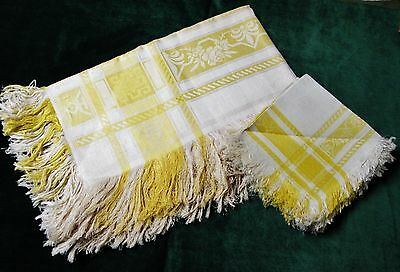 Antique Yellow & Creamy White Fringed Tablecloth & 12 Napkin Set Florals Unused