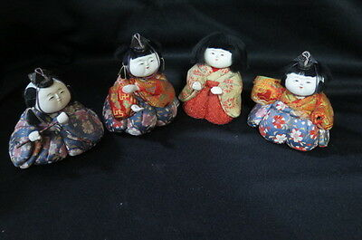 Antique Kimekomi Dolls, Kimono, Sitting, Gofun, Ningyo Musicians Set of Four