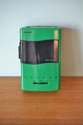 Retro Green Sharp JC-F3 portable walkman radio cassette player vintage