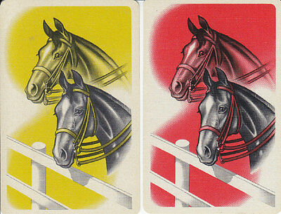 Vintage Swap/Playing Cards - 2 SINGLE- HORSE HEAD DUO