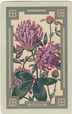 Vintage Swap / Playing Card - 1 SINGLE NARROW NAMED - 'CLOVER' FLOWER