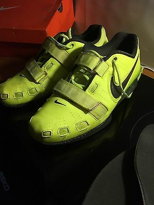 Nike Romaleos 2 UK Size 11 Yellow Weightlifting Crossfit Squat Shoes Immaculate