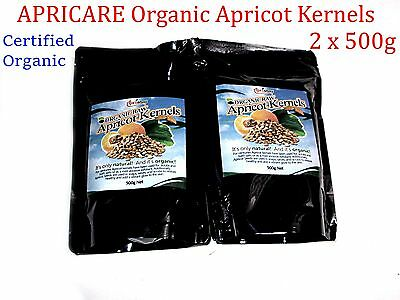 APRICARE Aprisnax Certified Organic Raw Apricot Kernels 2 x 500g ( total 1kg )