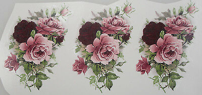 3 x Ceramic Waterslide Decal   SUMMERTIME  ROSE  9.5cm x 6.5cm (3 pieces)
