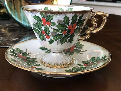 Vintage footed tea cup and saucer  - December 'Holly'