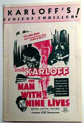 "Boris Karloff ""the Man With Nine Lives"" 1940 Press Kit White Paper High Grade"