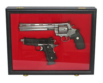 Pistol Shotgun Gun Display Wall Shadow Box Case Cabinet, Lockable GN01(RED)-BL