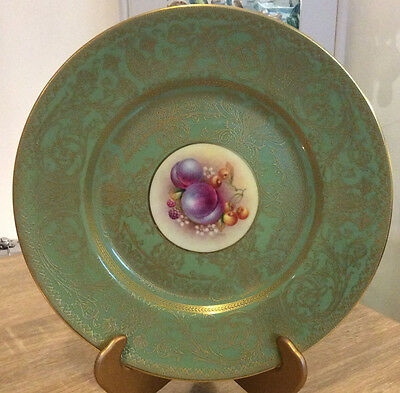 Royal Worcester Hand Painted Fruit Plate Green With Extensive Gilding Excellent