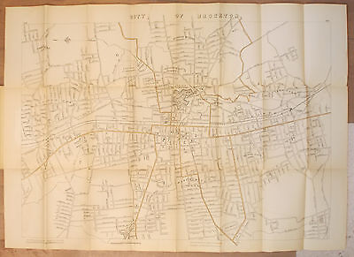 Antique 1906 MAP OF BROCKTON MASSACHUSETTS Mass MA City FOLDING MAP